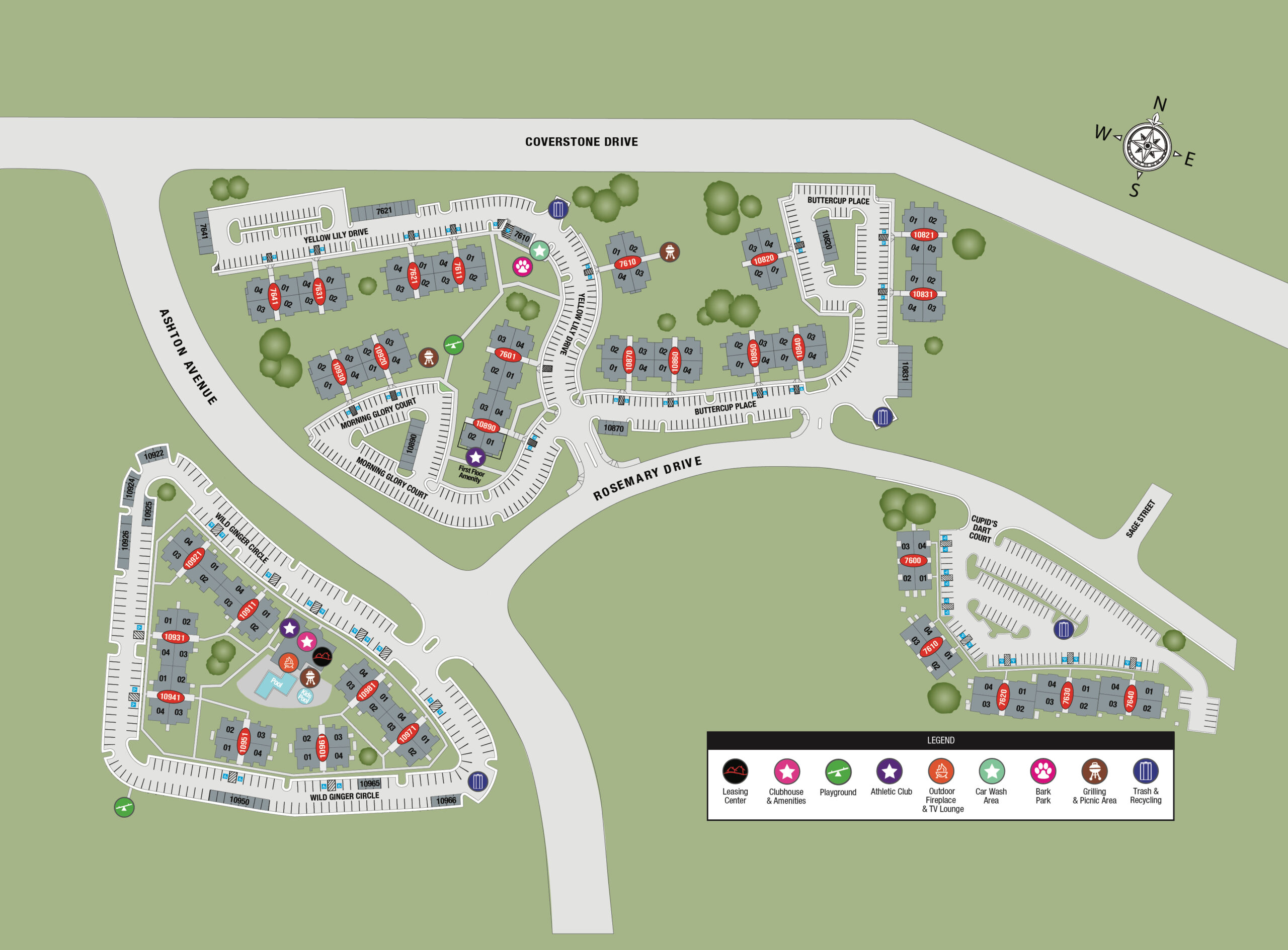 TGM Ridge Apartments Map. This picture shows the details of the community including roads and access ways. plus the buildings.