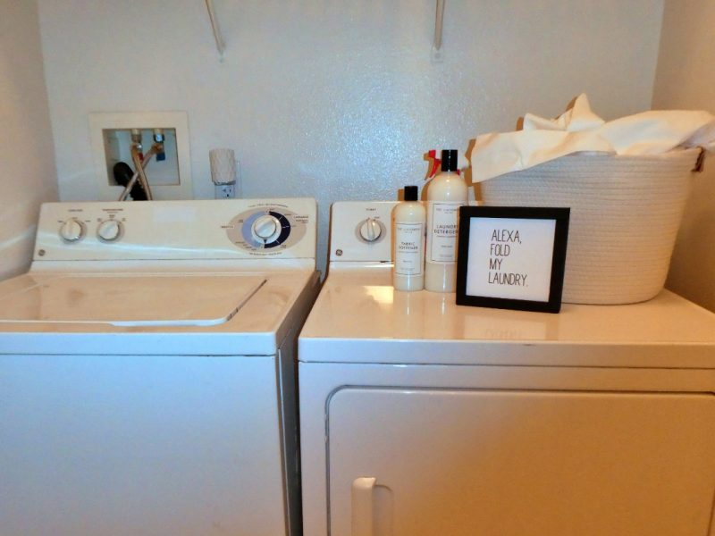 This image shows the Premium Apartment Feature, especially the full-size washer and dryer that was ideal for accessible and comfy appliances.